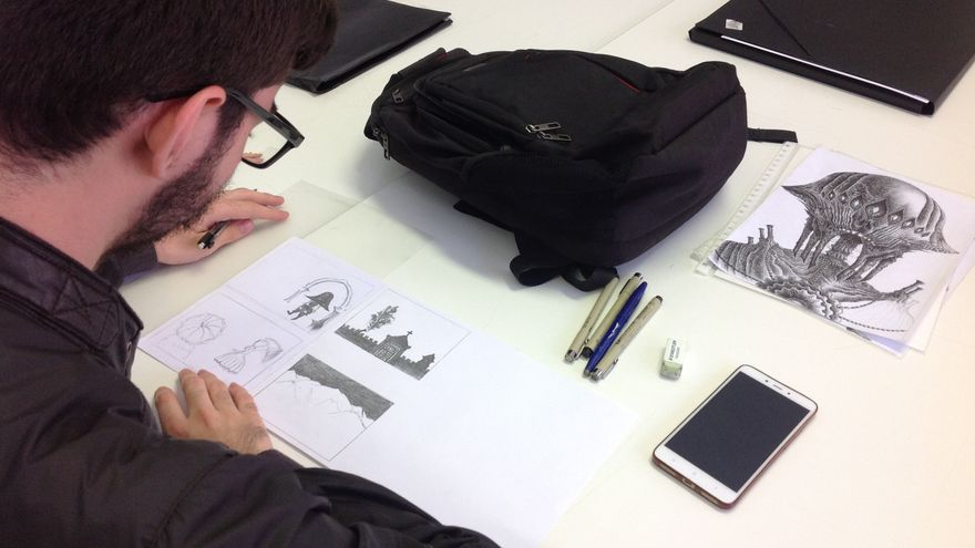 Uno de los alumnos realizando prácticas.