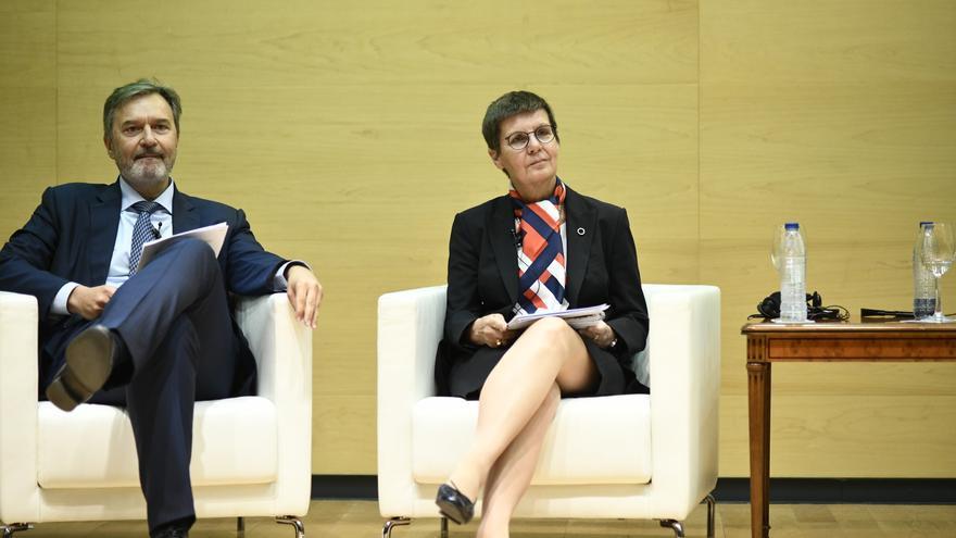 La presidenta de la Junta Única de Resolución (JUR), Elkie Konig, durante la celebración del décimo aniversario del Frob en el Ministerio de Economía y Empresa.