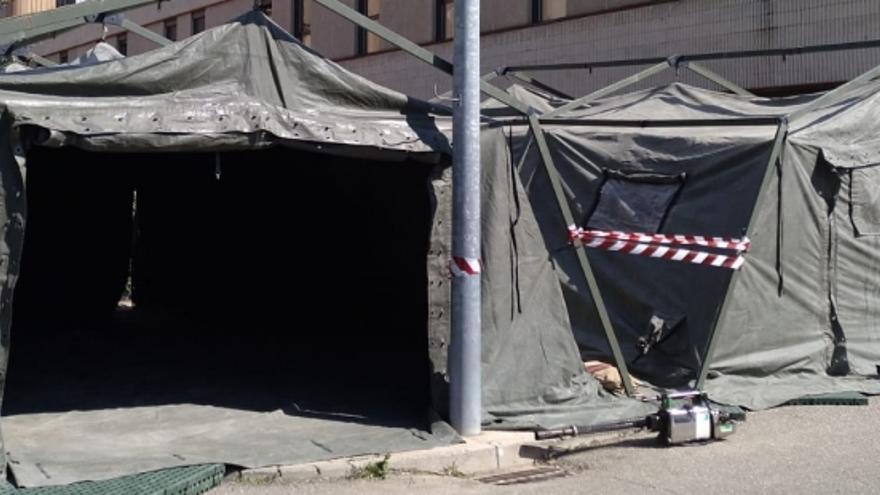 El ejército ha instalado carpas de triaje en el Hospital Ernest Lluch de Calatayud
