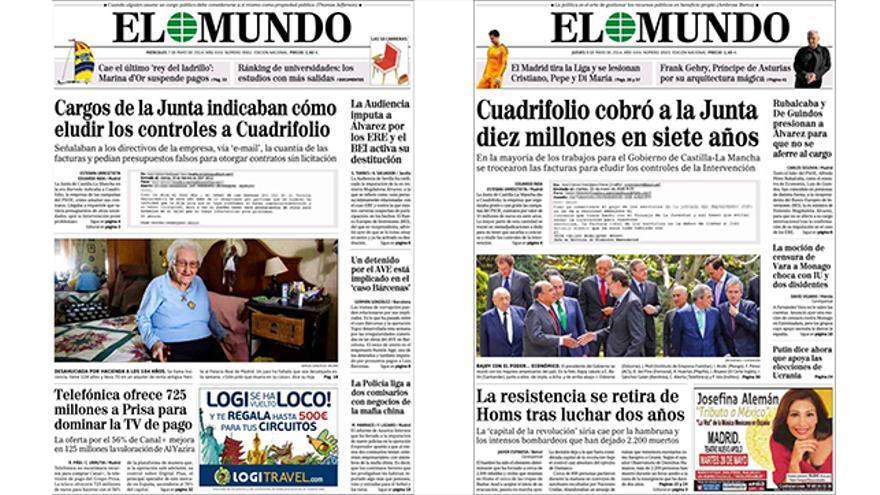 Portadas del miércoles 7 y jueves 8 del diario El Mundo