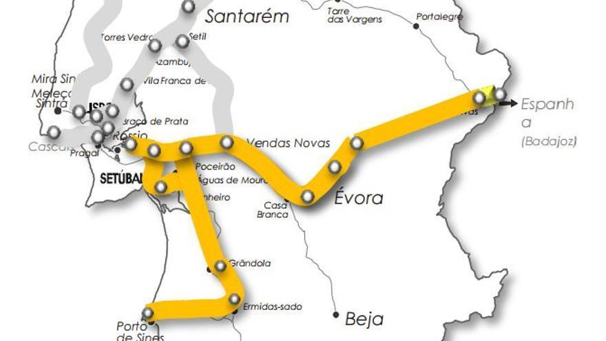Portugal tren linea internacional sur Sines Evora Badajoz