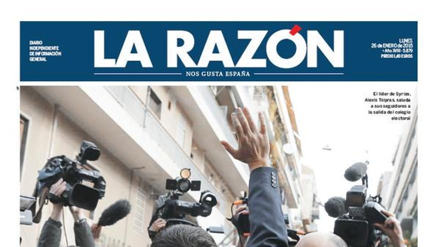 Portada de La Razón tras la victoria de Syriza. \ Perlas