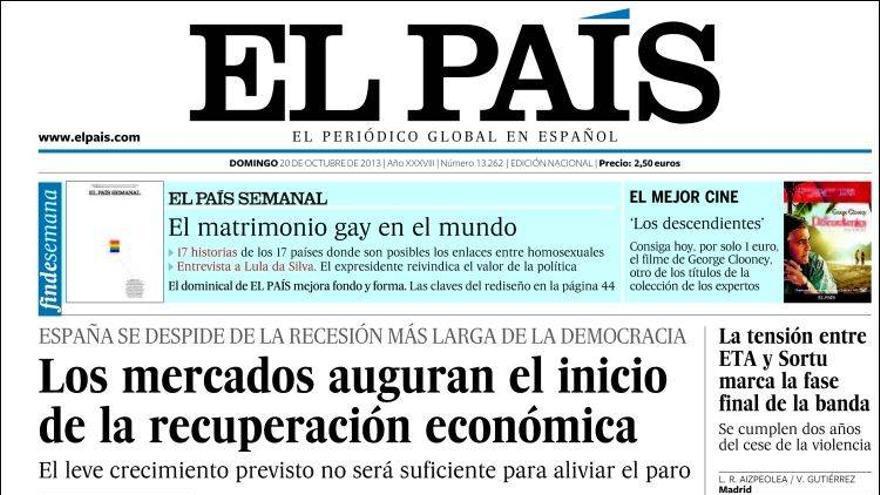 Portada del diario El País del 20 de octubre.
