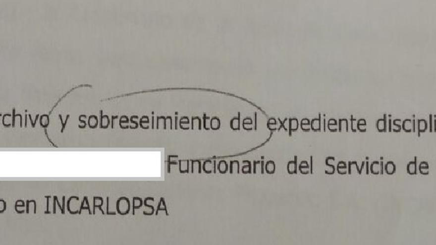 """Extracto del documento con el """"archivo y el sobreseimiento del expediente disciplinario abierto"""""""