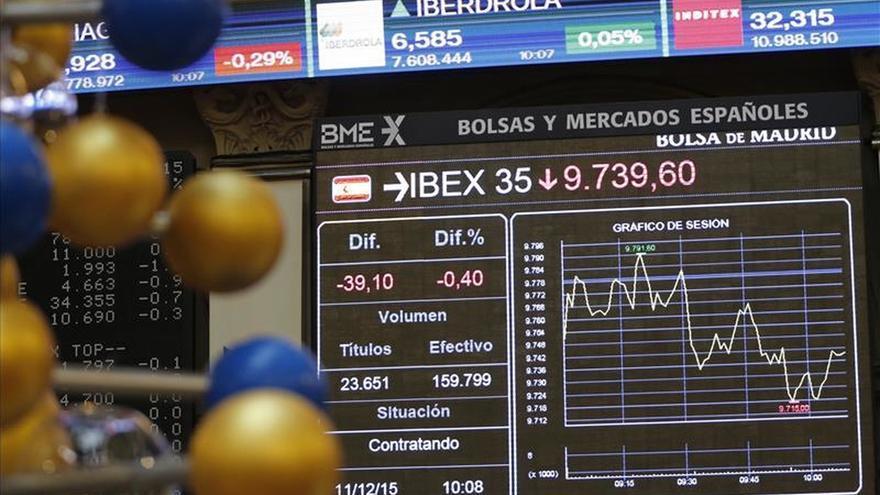 El IBEX aguanta el tirón de banca y grandes valores y sube un 0,06 %