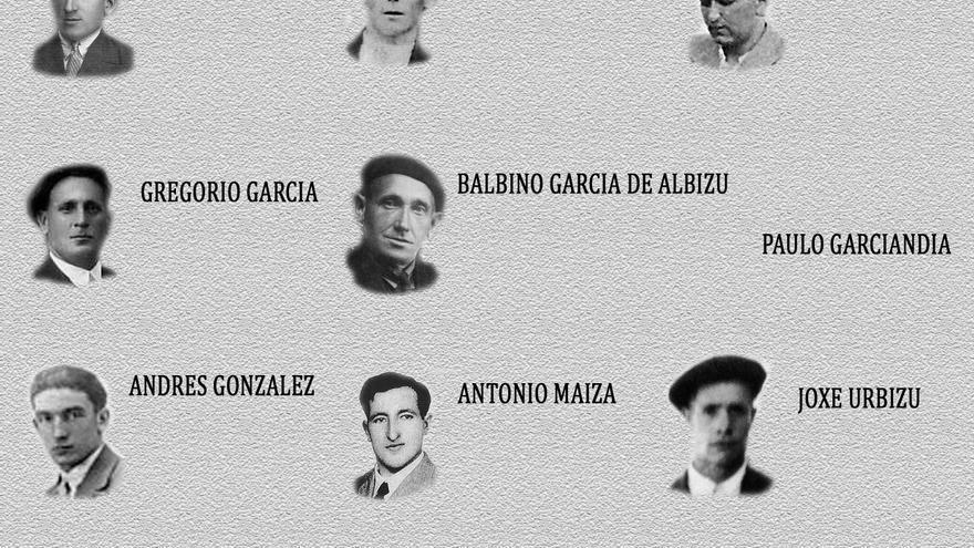 Nueve de los diez fusilados encontrados en la sima de El Raso / Foto: cedida.
