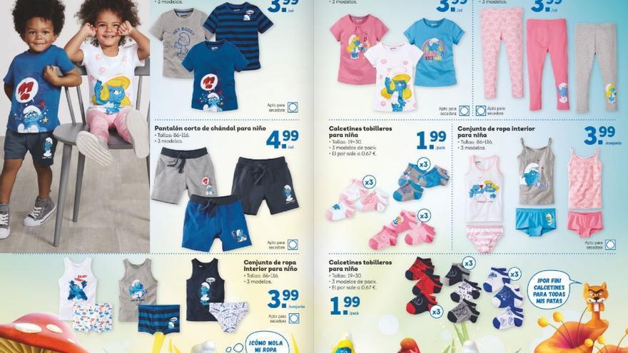 Página completa del catálogo de Lidl que oferta ropa con mensajes sexistas.