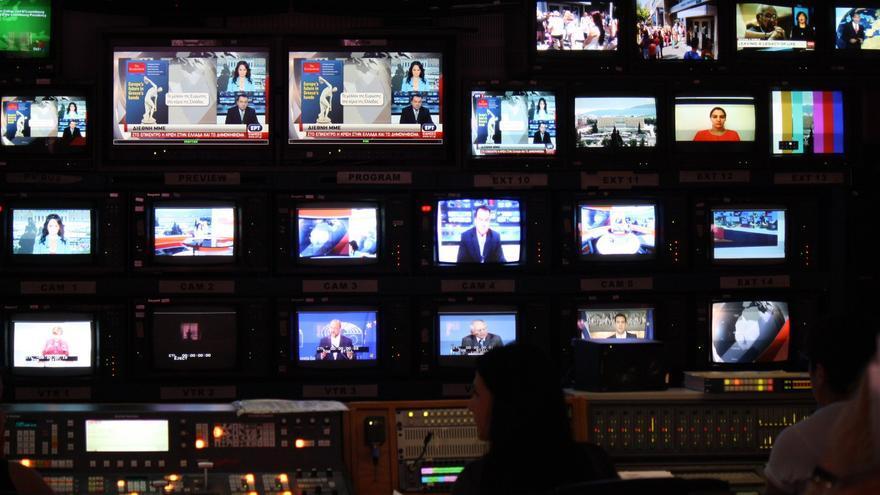 Control de la ERT, televisión pública griega. / Andrés Gil