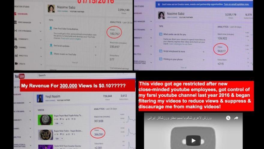 Las quejas de Nasim Aghdam sobre las visualizaciones de sus vídeos