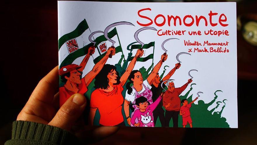 Dibujo conmemorativo de la ocupación de la finca Somonte, realizado por Mark Bellido.