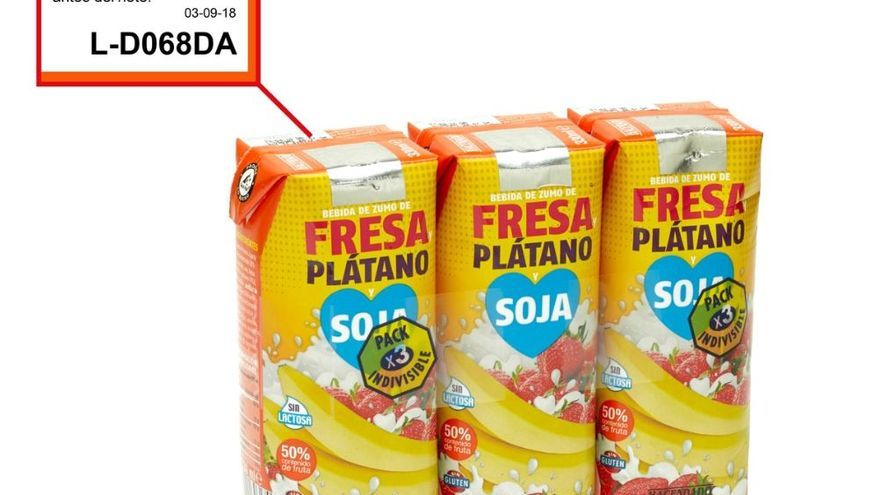 Mercadona retira un lote de bebida de fresa, plátano y soja por contener trazas de proteína de leche de vaca