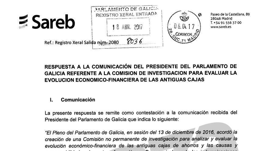Carta remitida por la Sareb al Parlamento de Galicia