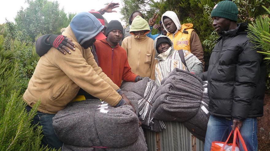 Varios de los inmigrantes cameruneses que viven en el bosque e intentaron entrar en Ceuta de forma frutrada el pasado 6 de febrero/Imagen Cedida