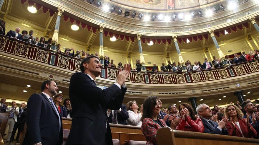 Pedro Sánchez tras ganar la moción de censura