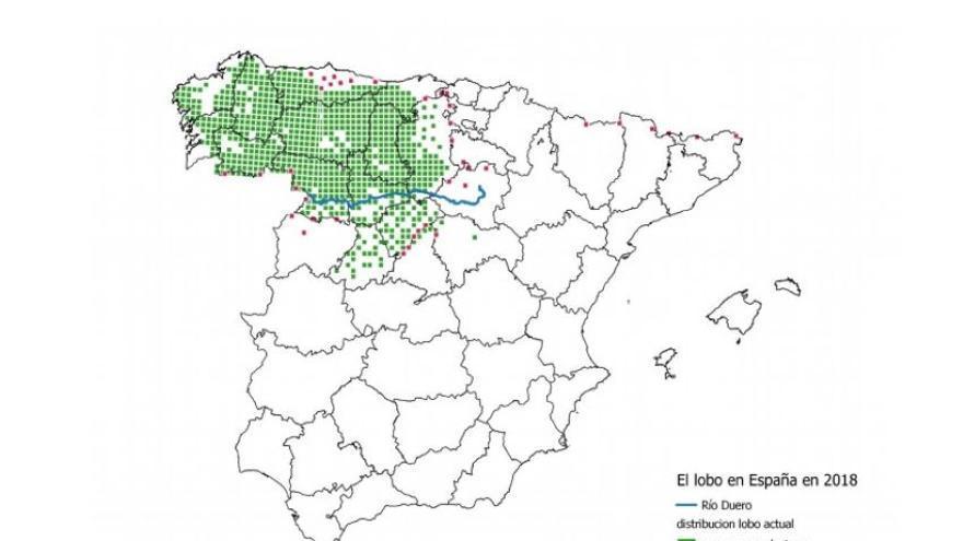 Mapa incluido en el Informe de Mortalidad no Natural del Lobo Ibérico en 2017