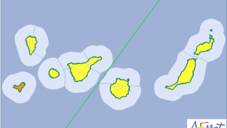 Mapa de la Aemet del aviso de riesgo por viento y calima para este viernes, 30 de diciembre de 2016.