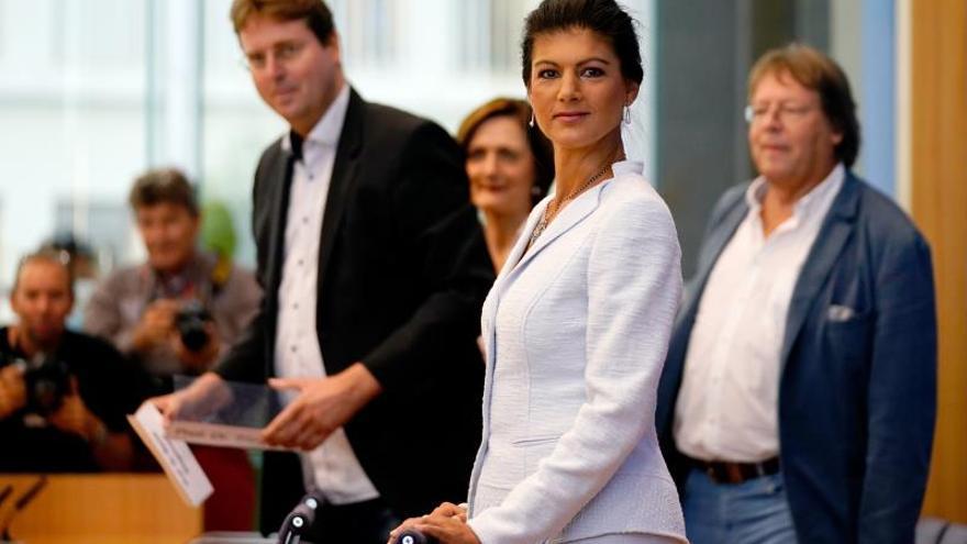 Sahra Wagenknecht en la presentación del nuevo movimiento político.