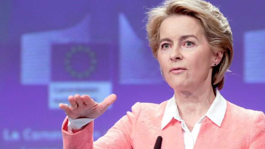 Brussels (Belgium), 10/09/2019.- European Commission President-elect Ursula von der Leyen holds a press conference announcing her future team, at the European Commission in Brussels, Belgium, 10 September 2019. Von der Leyen, who will assume office on 01 November 2019, made public the assignments of all the portfolios to the Commissioners-designate (2019-2024). (Bélgica, Bruselas)