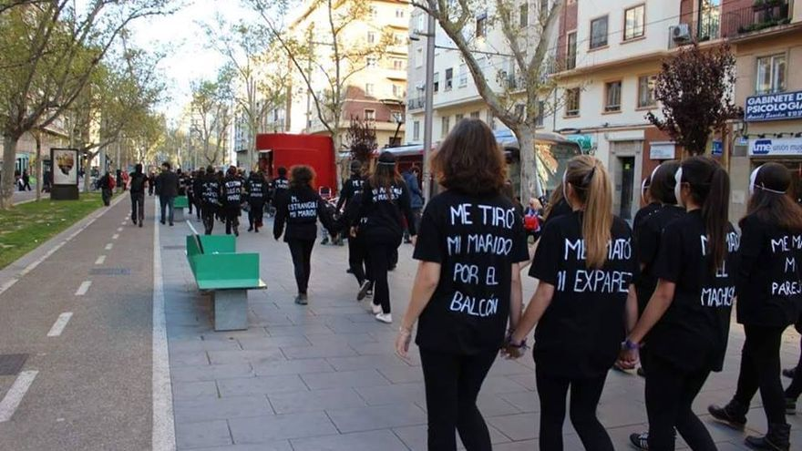 Acto contra la violencia de género en Zaragoza.