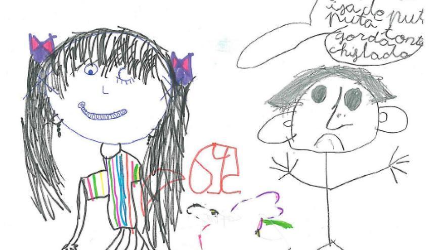 Dibujo realizado por una niña de 5 años que se suicidó en la adolescencia. Dibujo libre.