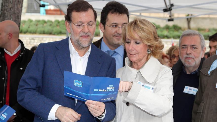 Esperanza Aguirre y Mariano Rajoy en un acto de la campaña contra la subida del IVA / PP de Madrid