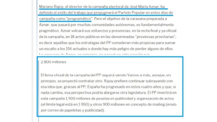 Extracto del artículo de El País 'La caravana de Aznar pasará por donde el PP se juegue un escaño'