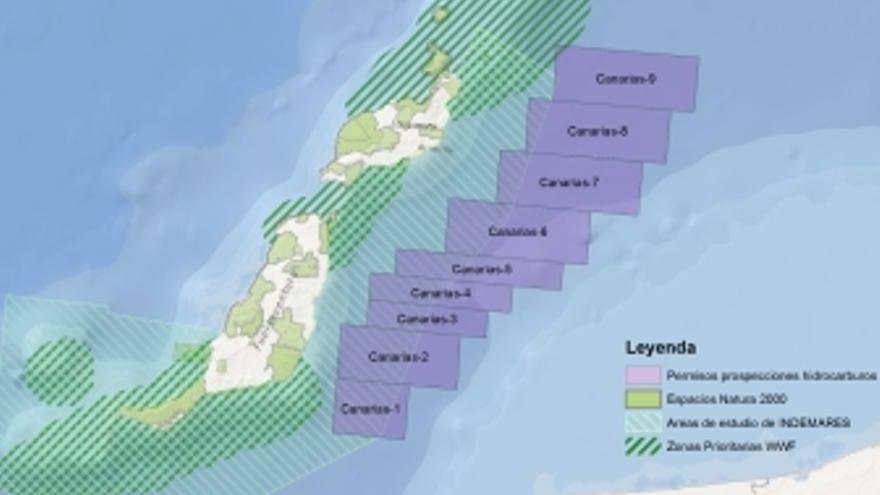 Mapa que muestra la cercanía de los permisos a las zonas protegidas. (WWF/ADENA)
