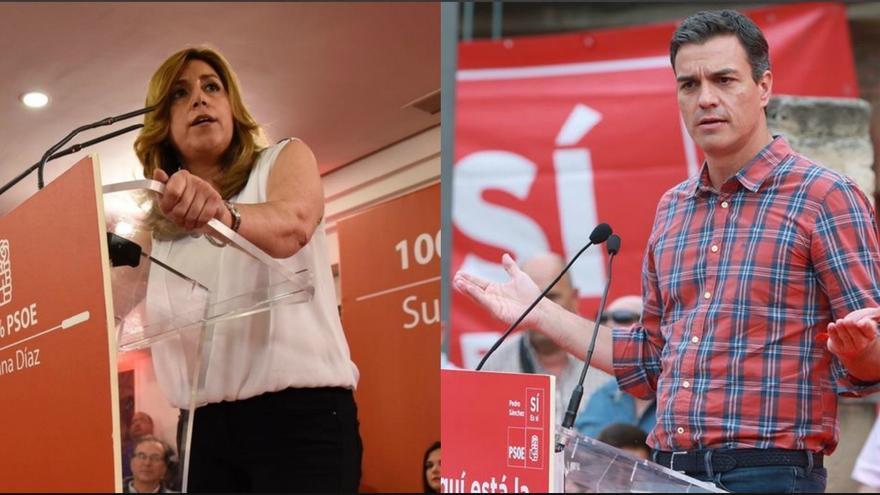 Susana Díaz y Pedro Sánchez en la recta final de la campaña de primarias