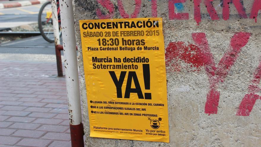 Nueva concentración de protesta por el soterramiento del ferrocarril en Murcia