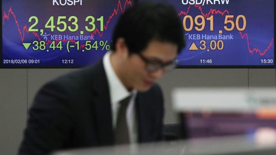 Pantallas muestran la evolución del índice kospi en el banco KEB Hana Bank en Seúl (Corea del Sur).