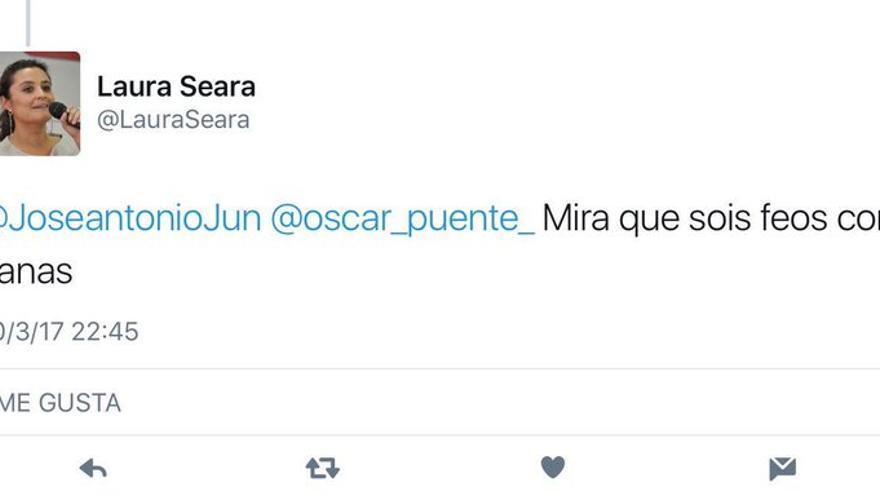Mensaje de Twitter de Laura Seara, coordinadora federal de organización de la gestora del PSOE.