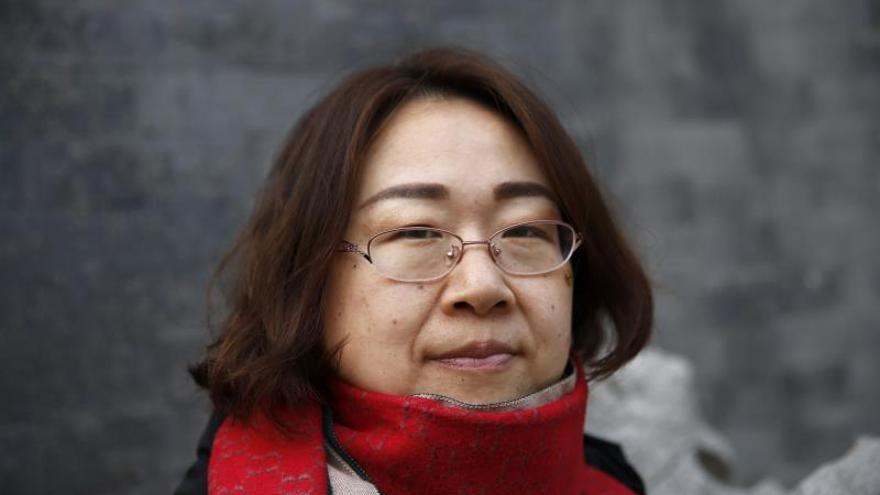 Fotografía de Wang Qiaoling, esposa del abogado disidente chino Li Heping, en Pekín (China).