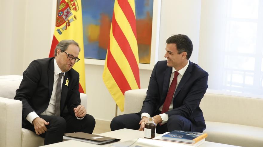 Torra junto a Sánchez, en la reunión en La Moncloa.