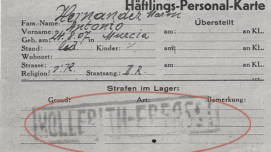 """El sello """"Hollerith"""" indica que los datos de este prisionero español han sido procesados por IBM"""