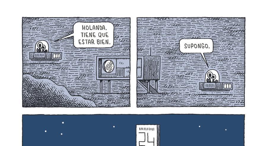 Viñeta de 'Un policía en la luna', de Tom Gauld