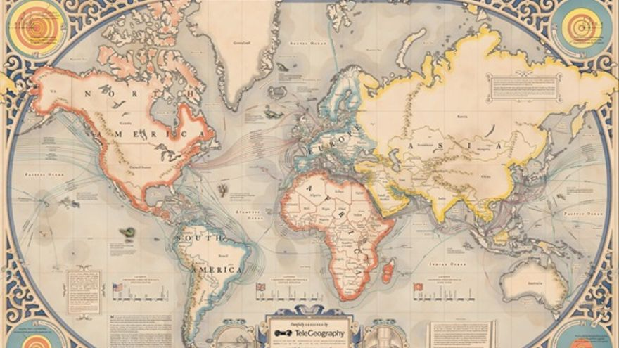 Los cartógrafos de TeleGeography añadieron monstruos submarinos a este mapamundi tecnológico de estilo antiguo