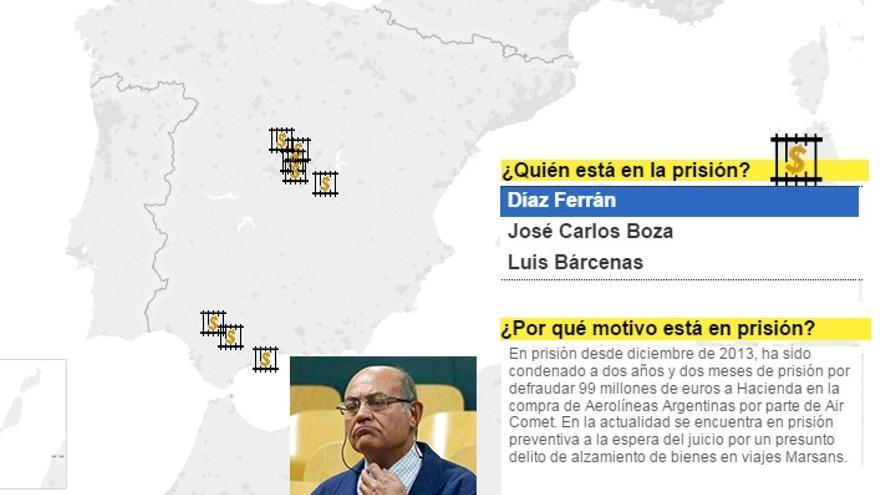 Pantallazo cárceles de los encausados por corrupción.