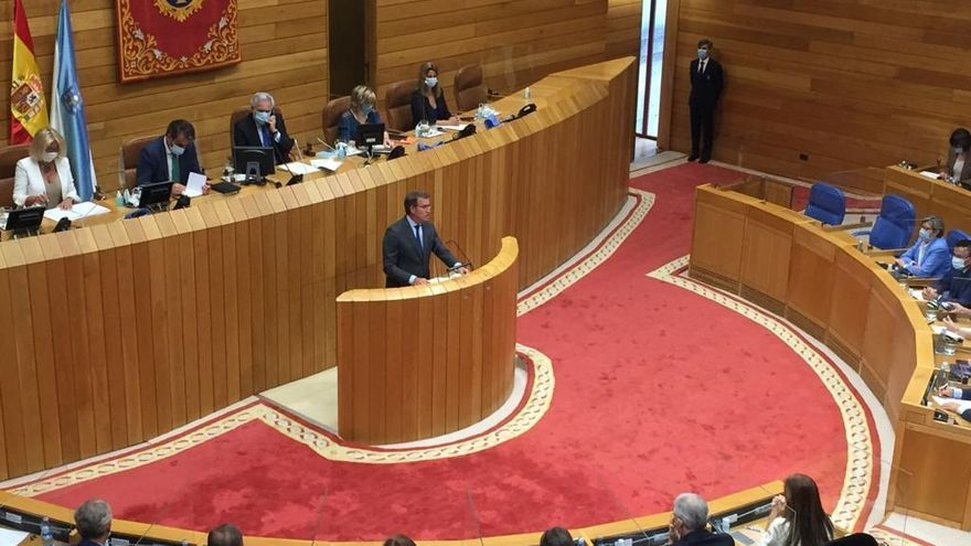 El candidato del PPdeG a la Presidencia de la Xunta, Alberto Núñez Feijóo, en la sesión de investidura de la XI Legislatura