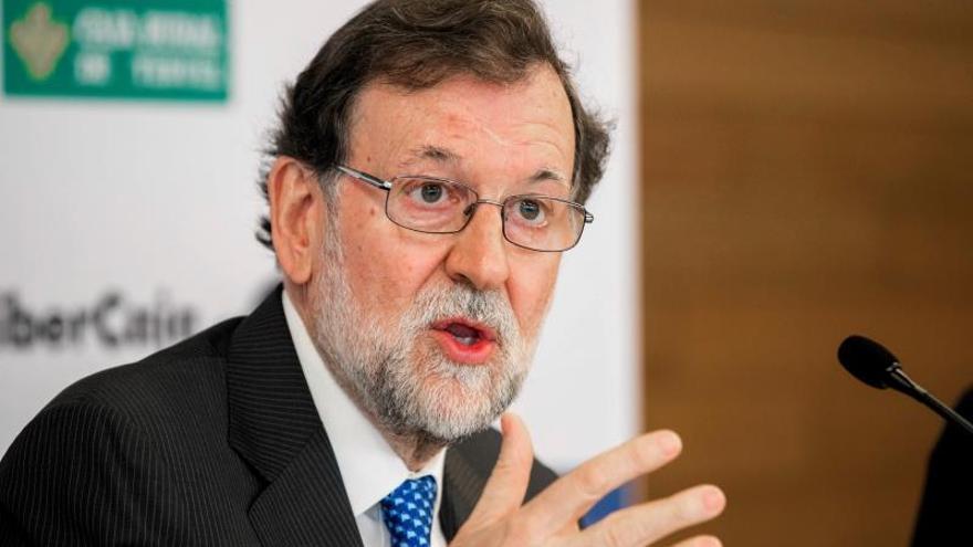 El expresidente del Gobierno Mariano Rajoy, durante la presentación este jueves de su libro.