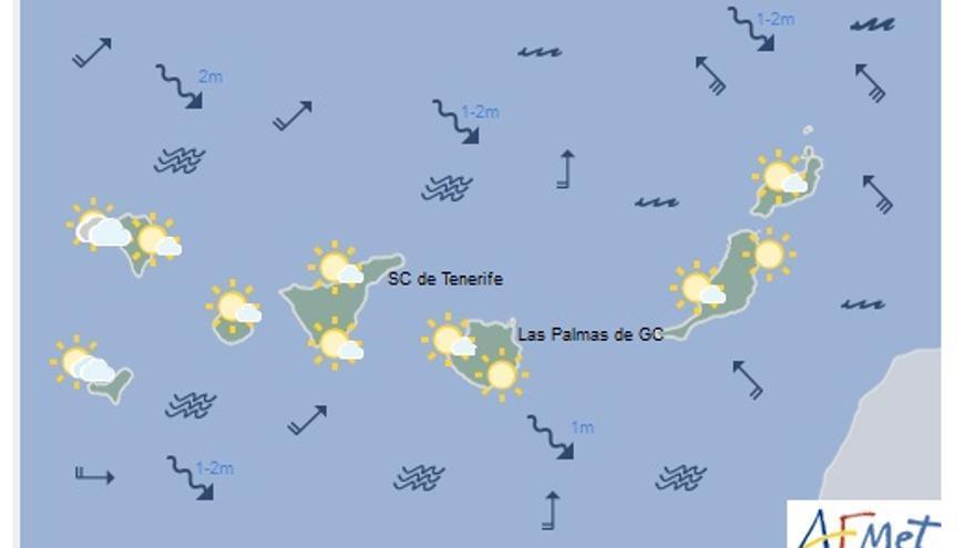 Mapa con la previsión del tiempo para este lunes, 2 de enero de 2017