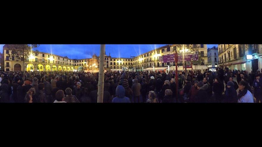 Un momento de la manifestación convocada este sábado en Tudela.