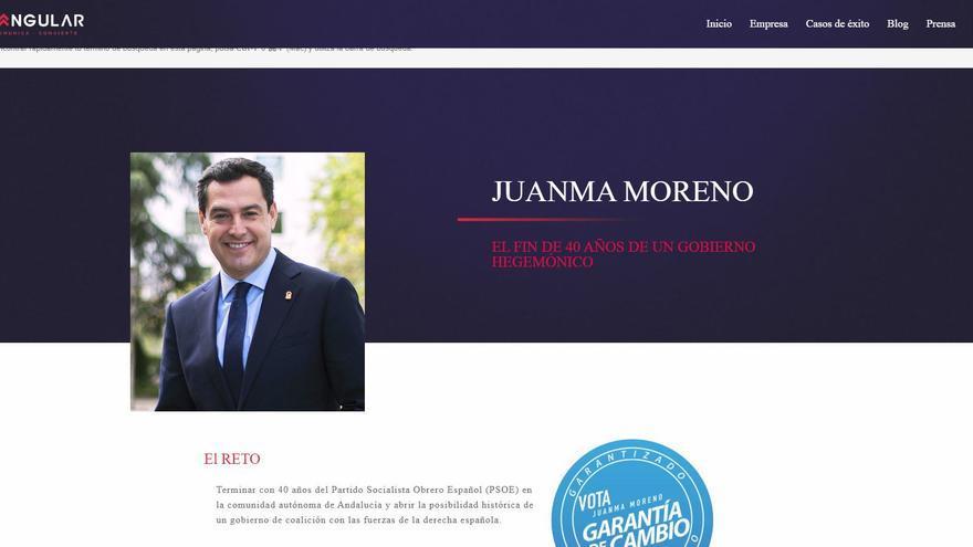 Captura de la página web de Cuadrangular referente a la campaña de Moreno Bonilla que ha sido eliminada.
