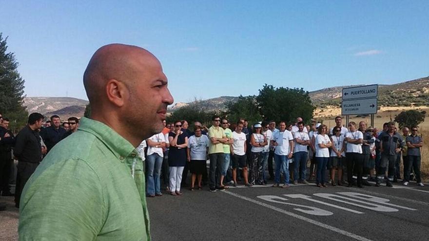 José García Molina en protesta de trabajadores de Elcogas / Foto: Podemos CLM
