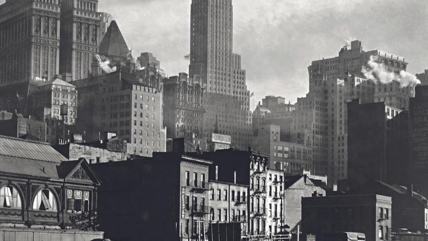 Vista aérea de Nueva York de noche, 20 de marzo de 1936