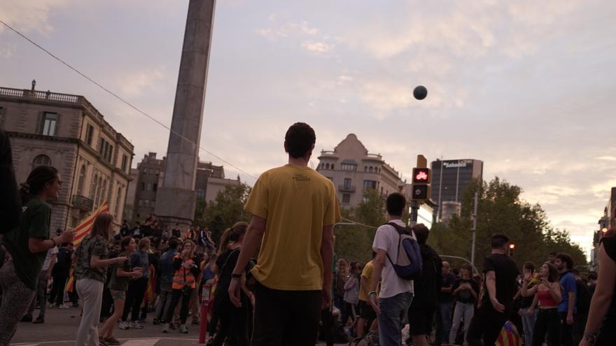 Concentración convocada por los CDR en Barcelona durante la tarde del jueves