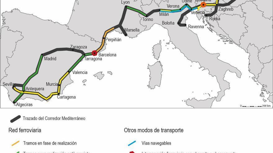 Proyectos del corredor mediterráneo europeo. Fuente: Eloïse Libourel, 2016.