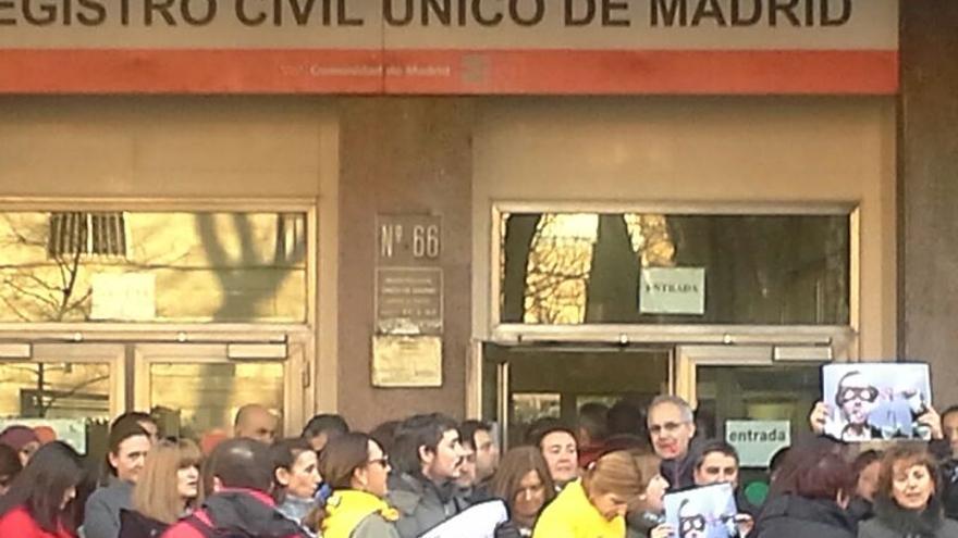 Protesta de trabajadores del Registro Civil de Madrid.
