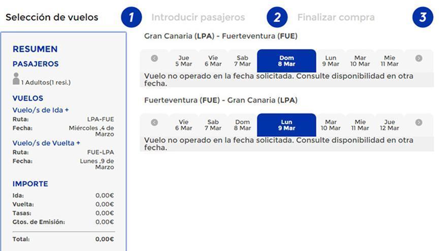 La propia página web de Canaryfly no muestra vuelos disponibles con destino al aeropuerto de Fuerteventura.