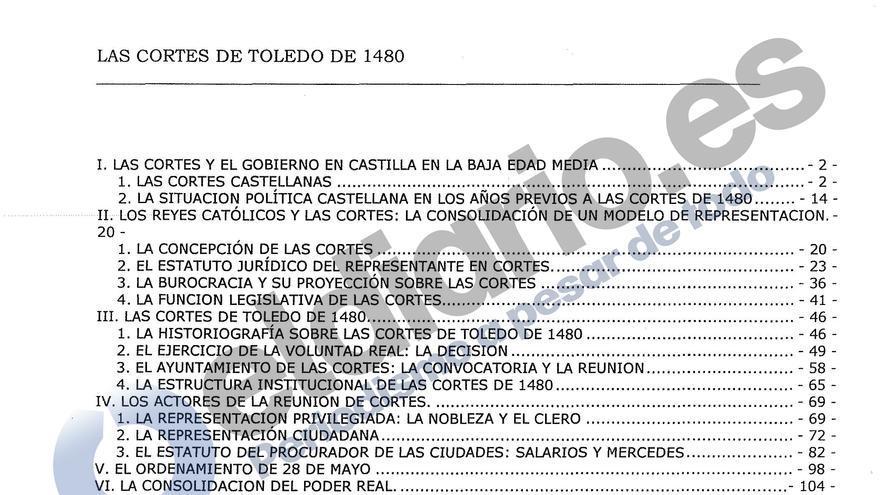 Índice de la prueba de habilitación a catedrático del rector Suárez