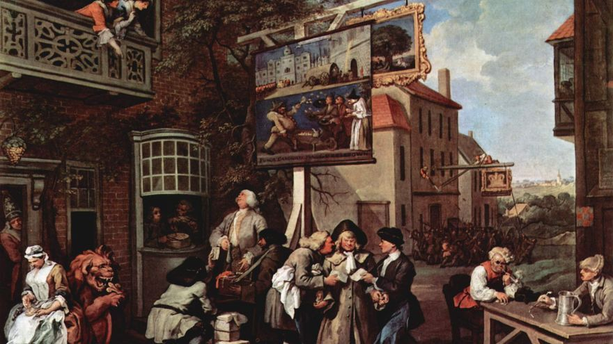 Canvassing for Votes, William Hogarth 1755. Parte de la serie Humours of an Election.Sir John Soane's Museum, Londres. Wikimedia Commons